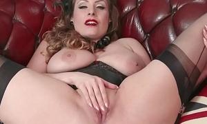 Natural heavy tits brunette wanks in nylon
