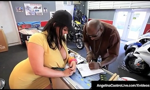 Cuban BBW Angelina Castro Sits On Big Blackguardly Cock For A Sale!