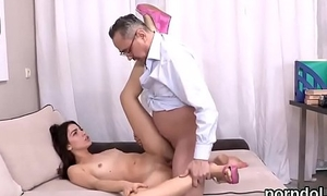 Innocent college widely applicable gets teased plus drilled by her older lecturer