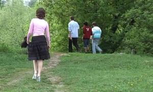 Girl pisses vulnerable the steps
