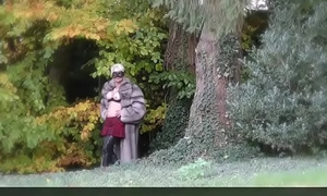 Vanessa in Furs - Outdoor Flashing her pussy in a woodland - Milf Mature Cougar