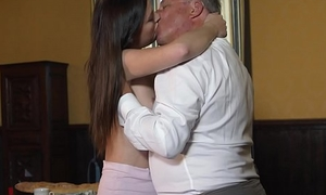 Young princess fucks the aged servant-girl on touching the hall room