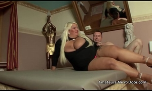 Thick blonde slut with big special receives hairless slit drilled