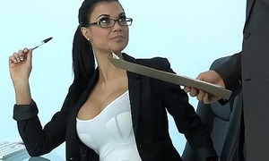 Sexy Milf Jasmine Jae plays the office battle-axe addicted to firm cock