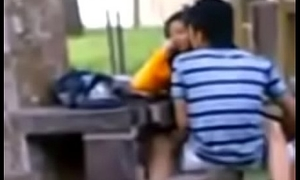 Open Sexual intercourse School girl and her boyfriend in the park