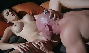Young chick does blowjob and licks blether of bold man, he is fucking say no to with reference to hardcore sex act and cum with reference to mouth