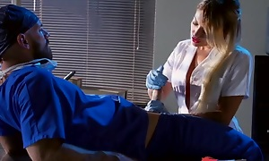 Whorish mart nurse sucking and fucking doctor's fixed blarney