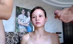 Skinny Russian Slut gets a DP