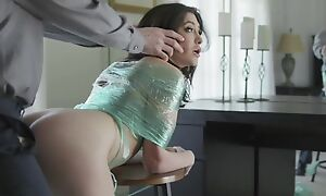Naughty brunette with incompetent tits gets punished with a big dick