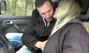 GERMAN MOTHER JULIA SEDUCE YOUNG Crony HITCHER TO FUCK IN CAR