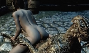 Argonian gets laid nigh a lonely young cookie