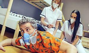 Two whorish nurses pleasuring horny rafter in the hostel