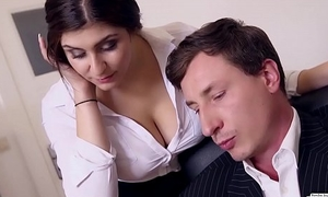 BUMS BUERO - Boss fucks busty German copyist and cums on their way big tits